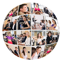 Collage of diverse business people in sphere