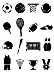 Sports items icons set