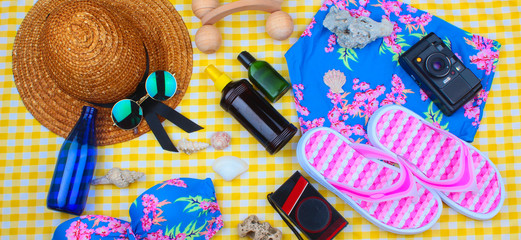 Beach Time Summer Travel Kit featuring slippers, bikini, radio, sun lotion, lotion, hat & camera