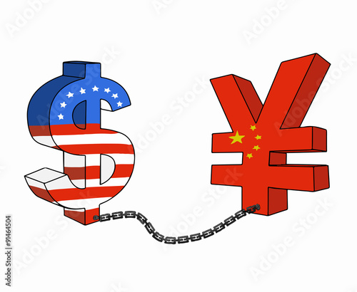 Us Dollar And Chinese Yuan Currency In World Finance Situation While Usd Pull Each