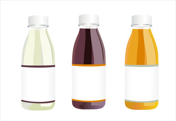 Bottles with juice isolated on white