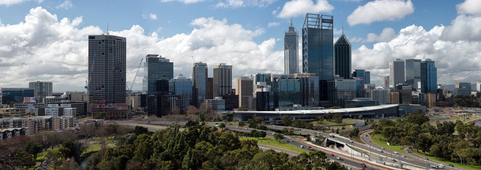 PERTH, AUSTRALIA, AUGUST, 18 2015 - Cityscape on cloudy day