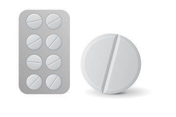 Pills blister pack. White tablet.