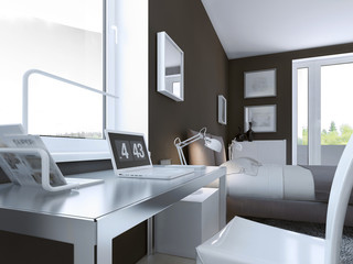 Shiny table in contemporary bedroom