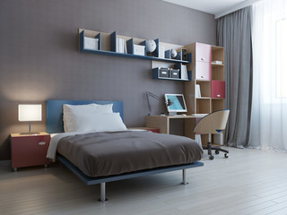 Minimalist wall system in modern bedroom