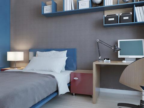Idea of children bedroom with grey walls