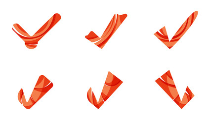 Set of abstract OK and tick icons, business logotype concepts