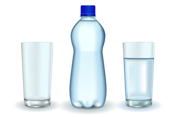 Bottle of water. Glass of water and empty glass.