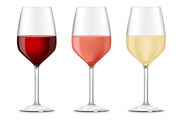 Glass of wine - red, white and rose.