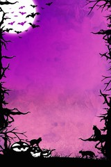 Halloween night purple vertical background with trees, bats, cats and pumpkins