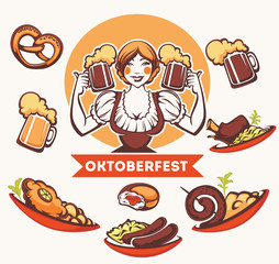 vector  German girl and collection of traditional German food fo