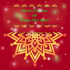 Christmas and New Year ornate cards with holiday symbol star on winter background in modern style.