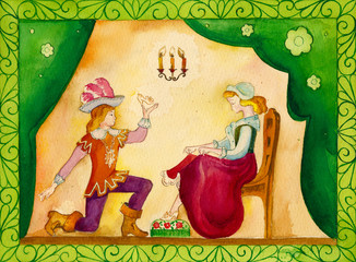 Illustration for the fairy tale, watercolor. Performed in
