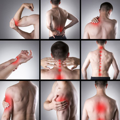 Pain in a man's body. Collage of several photos with red dots