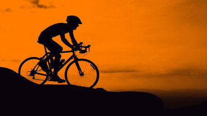 Man cycling on mountain
