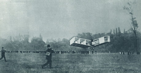 First official flight in Europe (Santos-Dumont, 23 October 1906, Bagatelle field)