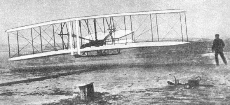 First flight of Wright Flyer, world's first powered aircraft, 1903