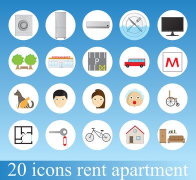 Rent apartment - colorful icon set