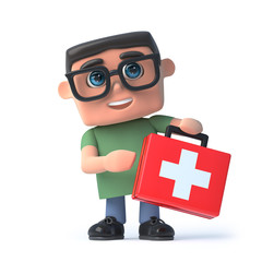 3d Boy in glasses holds a first aid kit