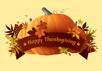 Happy Thanksgiving banner with ribbon and pumpkins