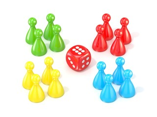 Ludo board game figurines. 3D render illustration isolated on white background