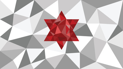 abstract shining vector geometric web background, red shape in