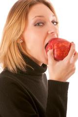 Girl bites apple