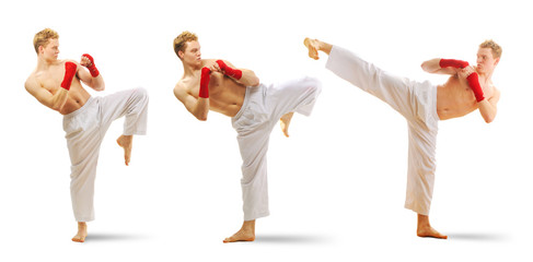Man training taekwondo set