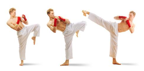 Man training taekwondo set