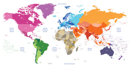 Spoed Foto op Canvas Wereldkaart world political map colored by continents