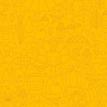 Thin Thanksgiving Dinner Line Holiday Seamless Yellow Pattern