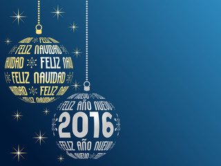 spanish text Merry Christmas and Happy New Year 2016 greeting card in spanish language with place for text
