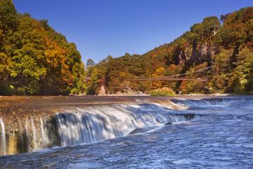 The Fukiware Falls in Japan in autumn