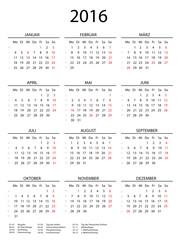 2016 Kalender hoch mit Feiertagen und Linien