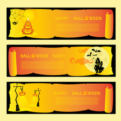 Set banners halloween party with pumkins, spider, bats, lamps