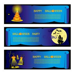 Set banners halloween party with design elements pumpkins Vector