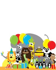 Group of wild animals with balloons, presents and birthday cake