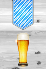 Oktoberfest background (Beer and boards)