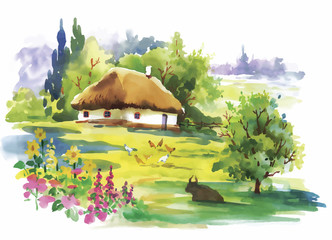 Watercolor rural village in green summer day illustration