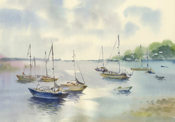 Watercolor Boat on river water vector illustration