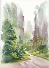 Watercolor summer rural landscape vector illustration