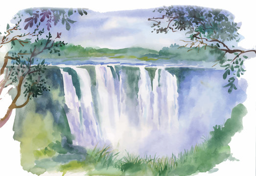 Watercolor illustration of beautiful waterfall
