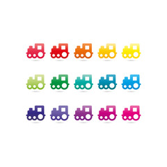 Toy train icons. Rainbow spectrum colorfull set of signs. Vector graphic template.