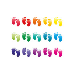 Footprint rainbow colored symbols. Vector illustration graphic template isolated on white background.