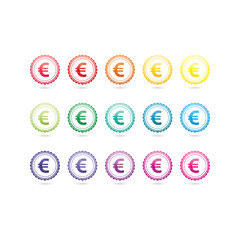 Euro currency grunge symbols. Colorful hipster style stamp badge signs. Vector illustration graphic template isolated on white background.