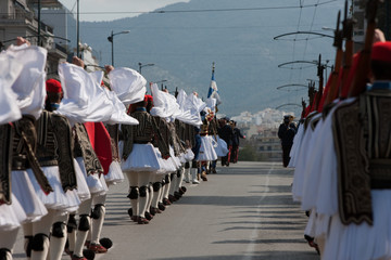 Infantry regiment of Evzones goose-stepping on Vassilisis Sofias avenue, Syntagma, central Athens, Greece
