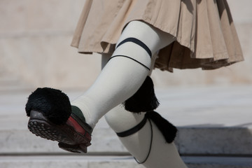 Presidential guard summer outfit, kilt and shoe with pins/ holdfast details. Syntagma square Athens, Greece.