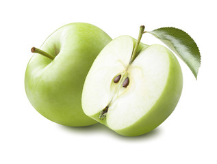 Green apple half leaf isolated on white background