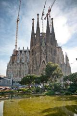 Exterior of Sagrada Familia Church in Barcelona