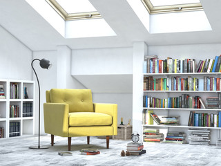 modern interior white room with books and sofa